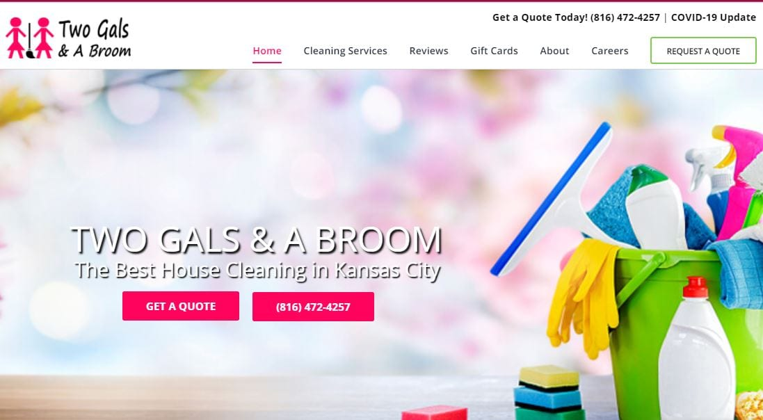 Website design for Two Gals & A Broom in Kansas City
